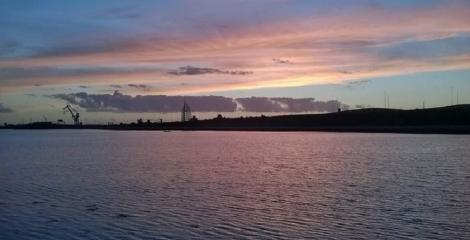 Sunset over the waters of Portsmouth