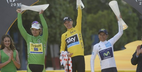 Chris Froome on the Tour de France winner's podium