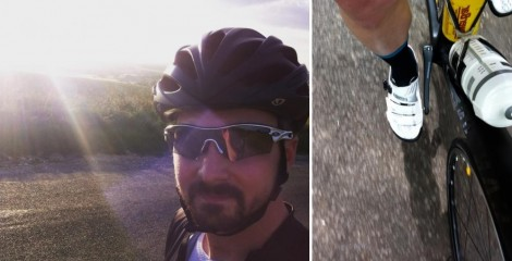 split image of Ed and image of him riding